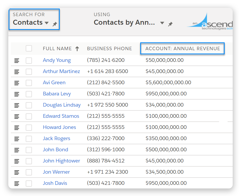 Salesforce related lists, Ascendix Search
