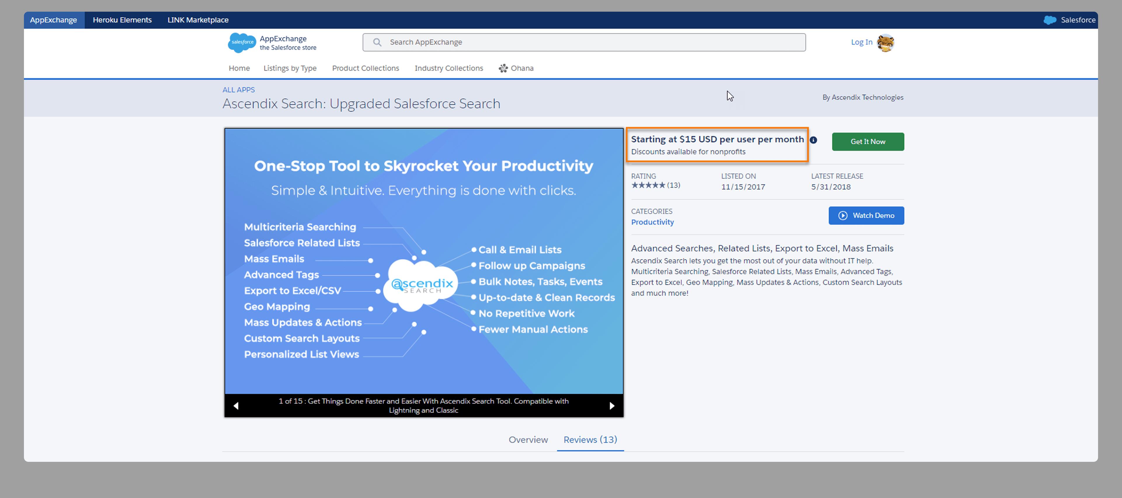 Salesforce App Pricing on AppExchange