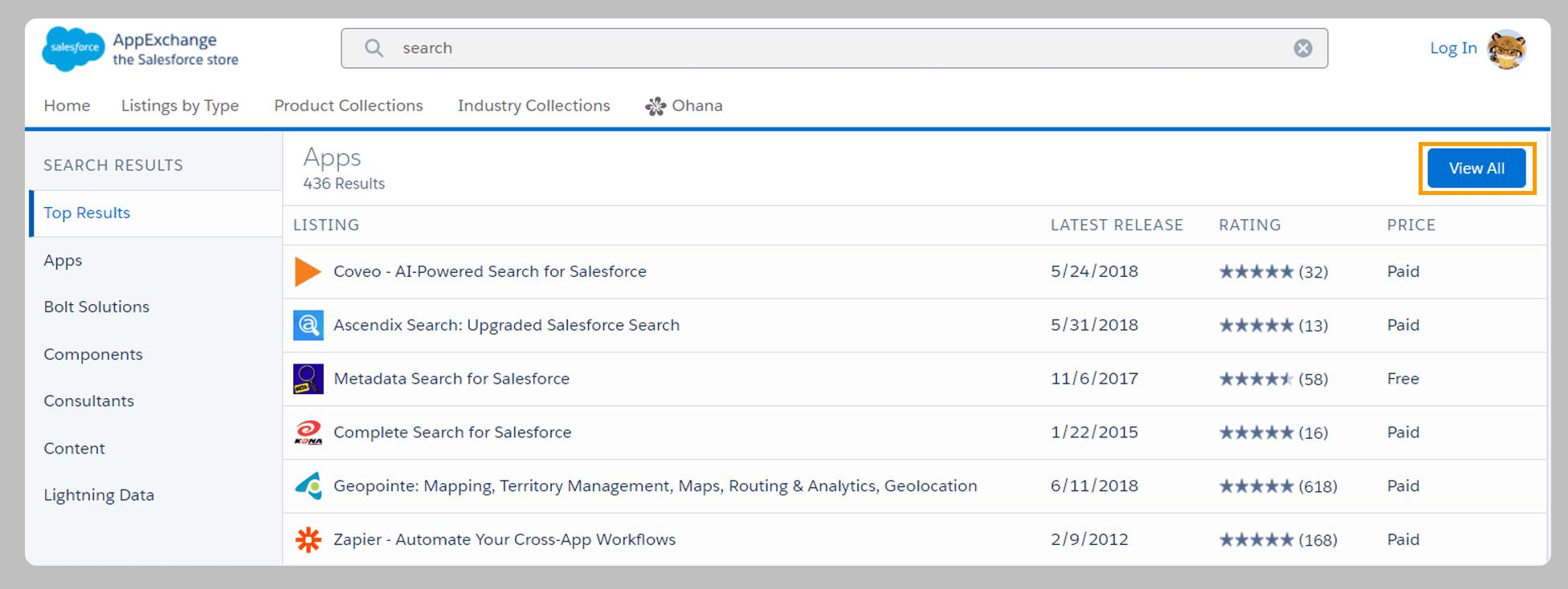 Salesforce App Search on AppExchange