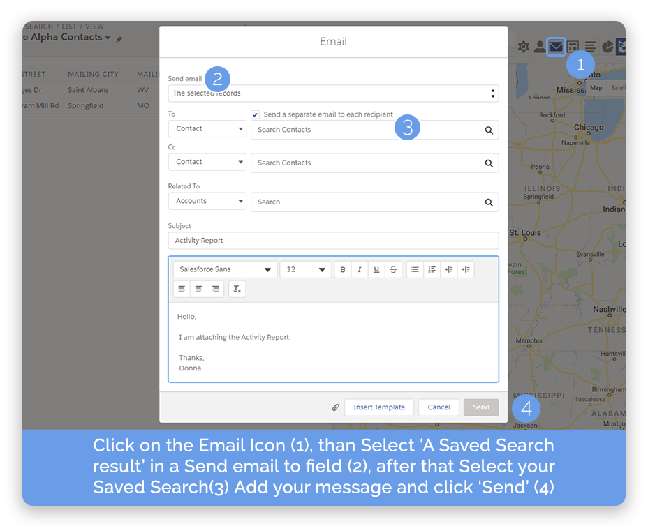 Salesforce mass emails with Ascendix Search