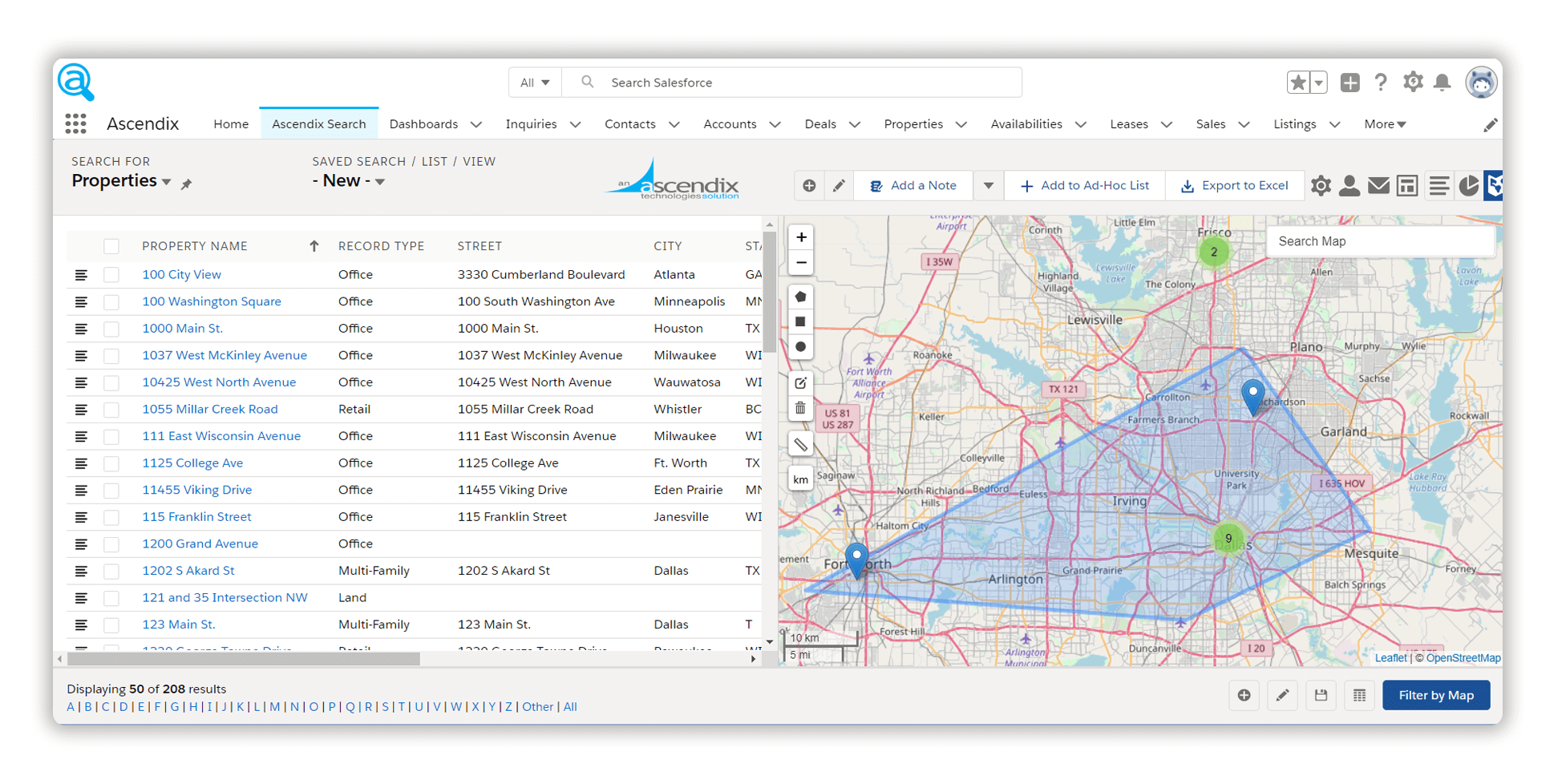 ascendix search properties search using maps in salesforce