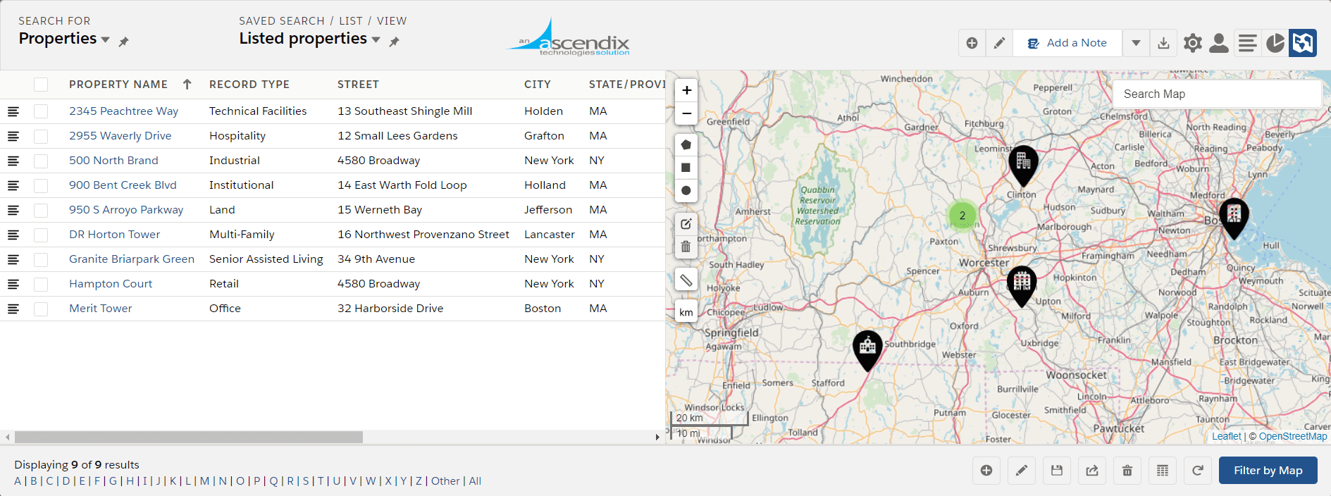 Ascendix Search app for Salesforce custom pins on a map
