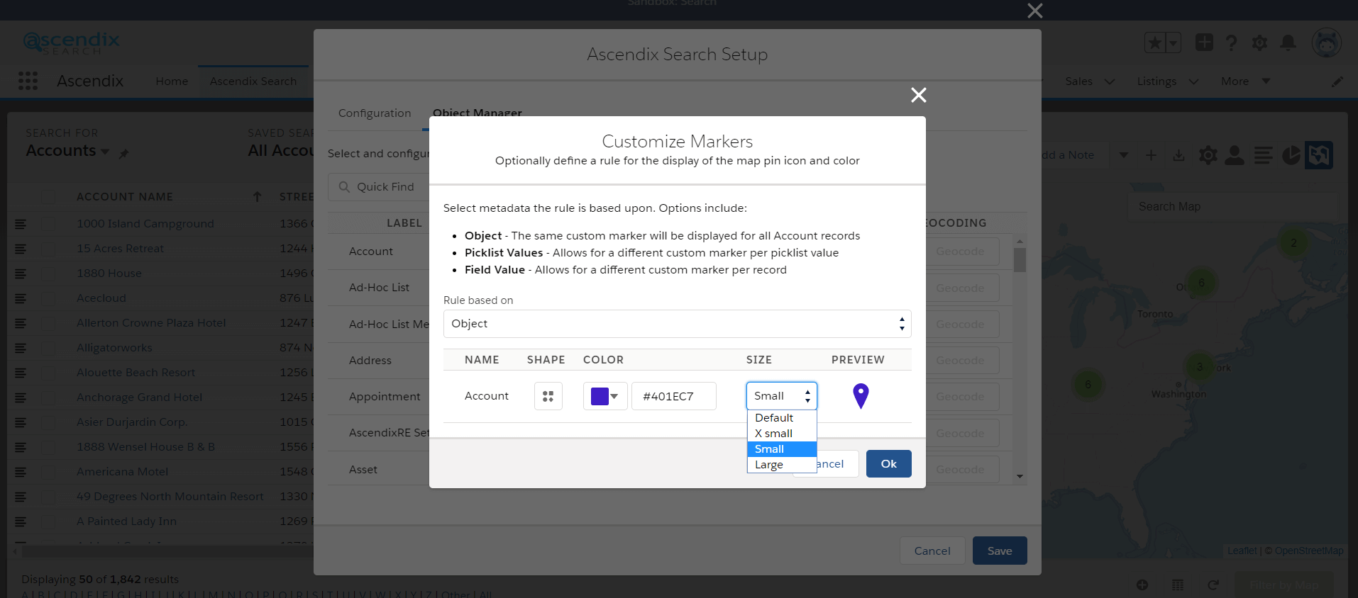 Ascendix Search changing markers size