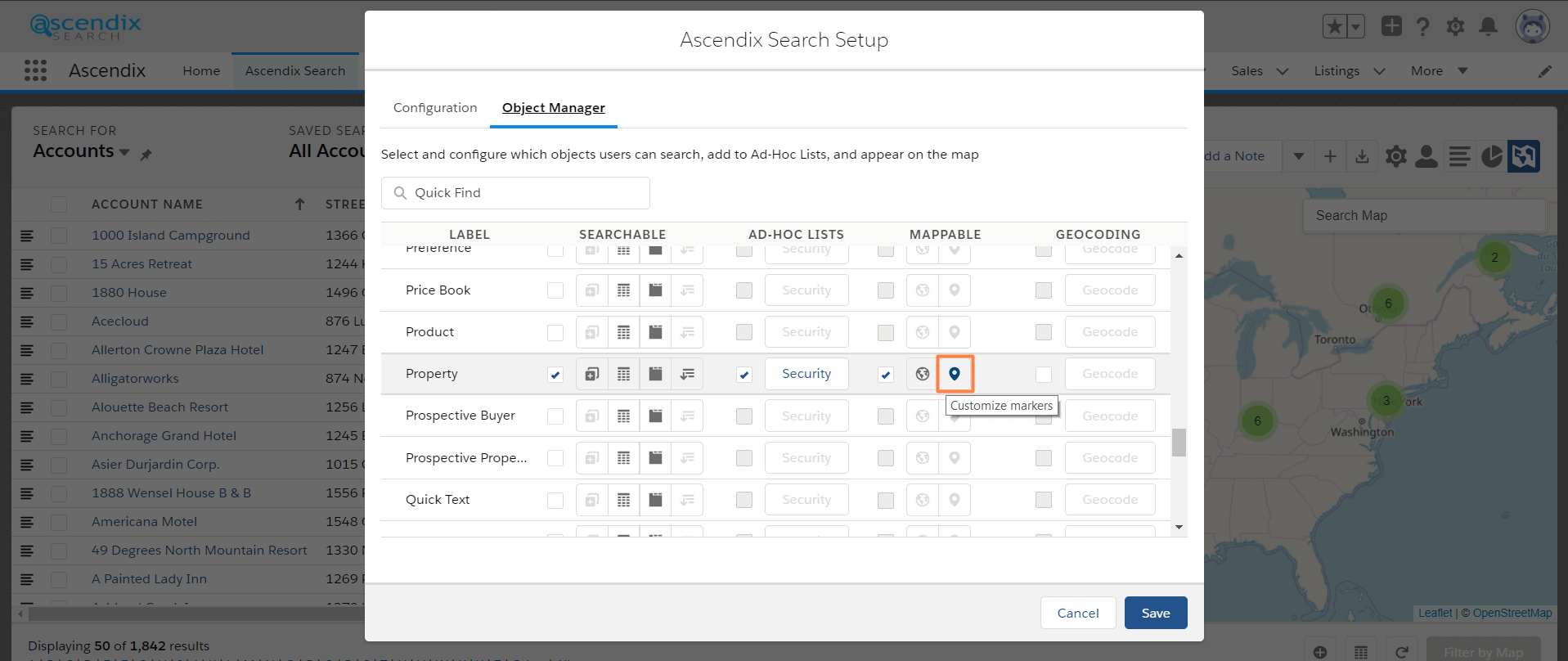 Ascendix Search for Salesforce customize map markers