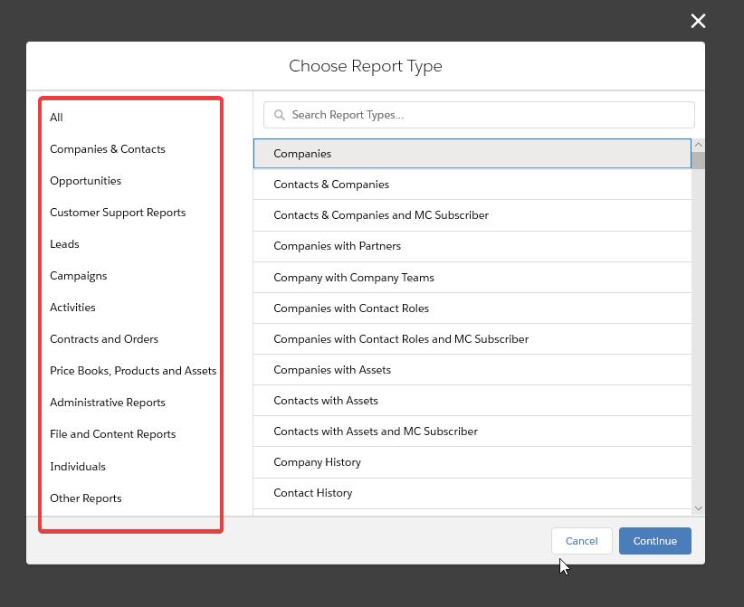 Standard Salesforce report types