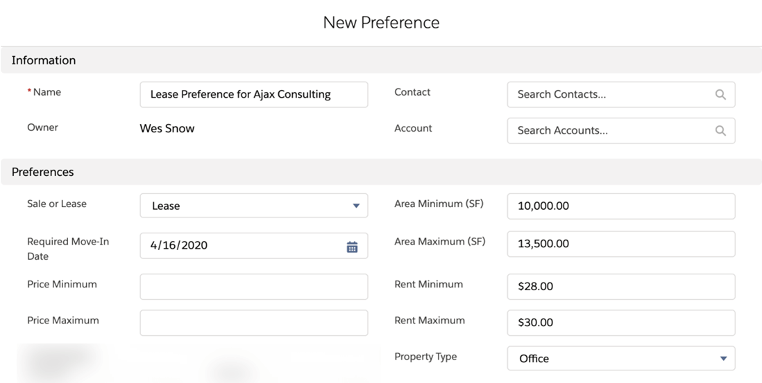 Example of a New Preference Building in AscendixRE CRM