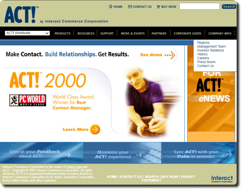 ACT Contact management software home page