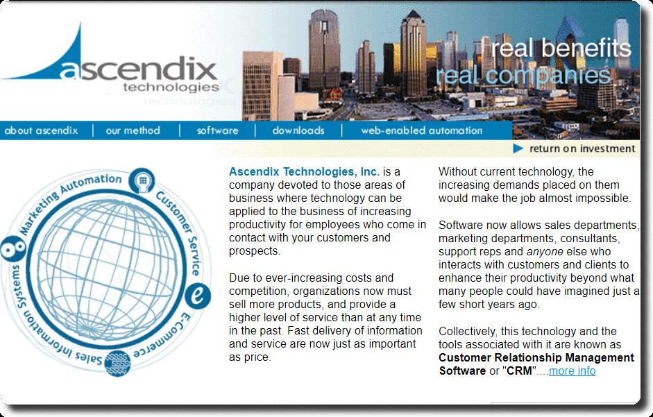 Ascendix Technologies website back in late 1990