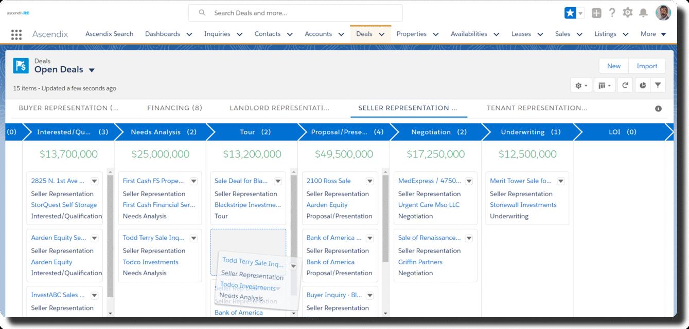 AscendixRE-Open-Deals-Kanban-VIew-Screenshot