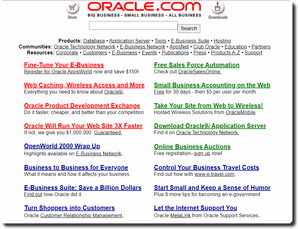 Oracle Home Page in 2000