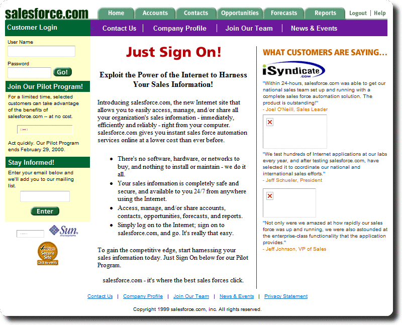 Salesforce HomePage in 1999