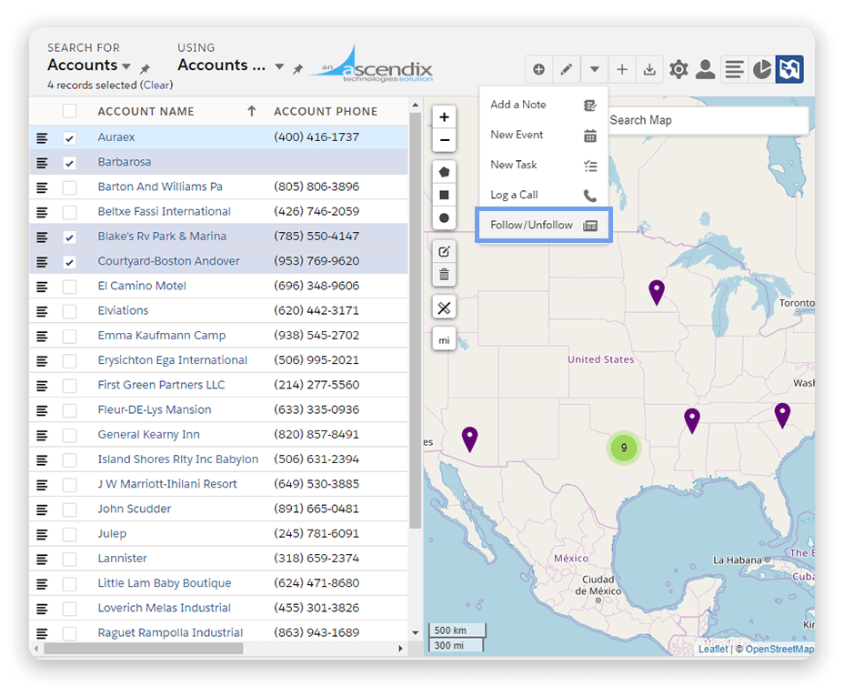 Ascendix-Search-Salesforce-mass-follow-records