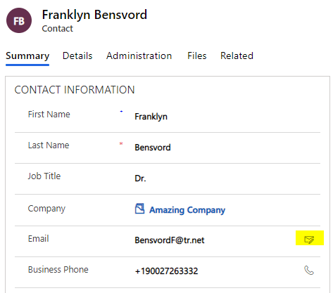 A Standard Contact Card in Dynamics 365 with an Email Icon
