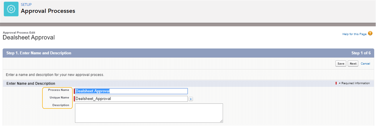 Adding Name and Description for Approval Process