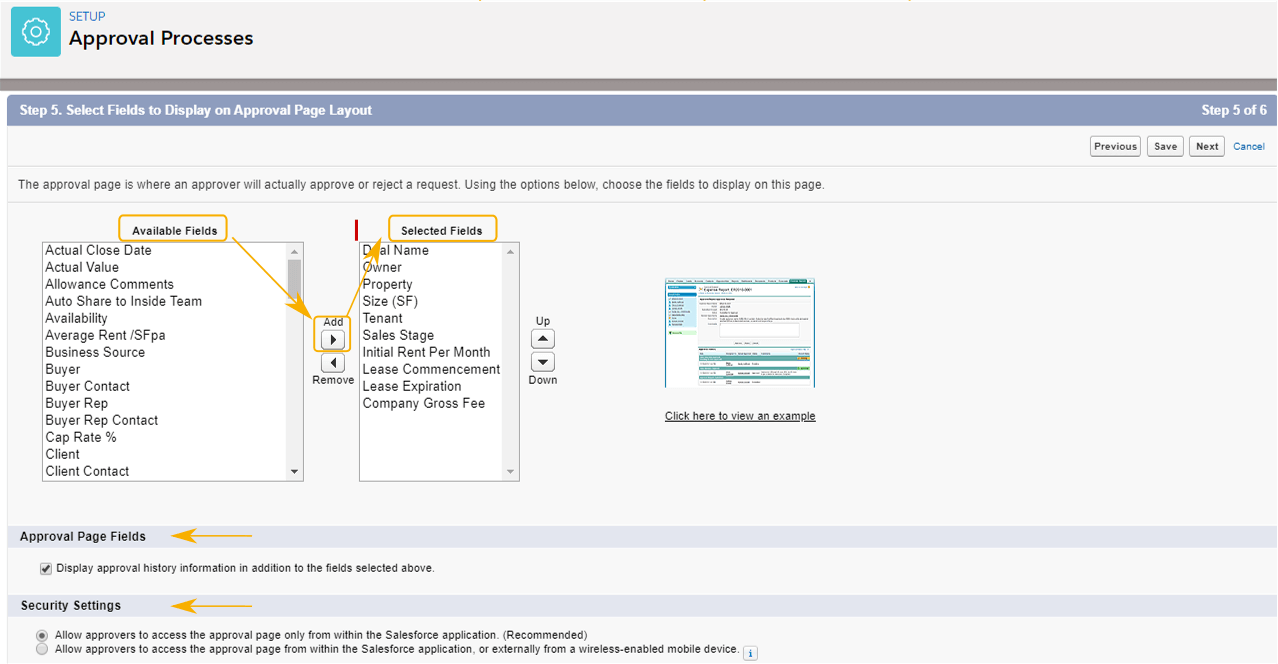 Approver Page Layout, Approval History and Security Settings