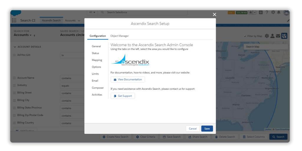 Ascendix Search Admin Dialogue