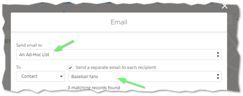 Ascendix Search Send bulk emails to the members of an Ad-Hoc List