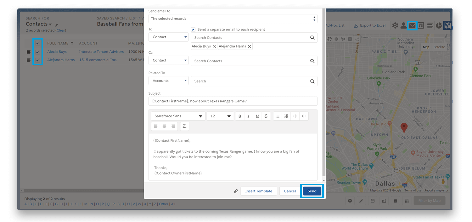Ascendix Search Sending Mass Emails from Salesforce