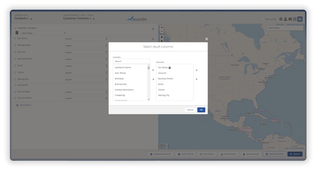 Ascendix Search for Salesforce Adjusting Columns To Result Sets
