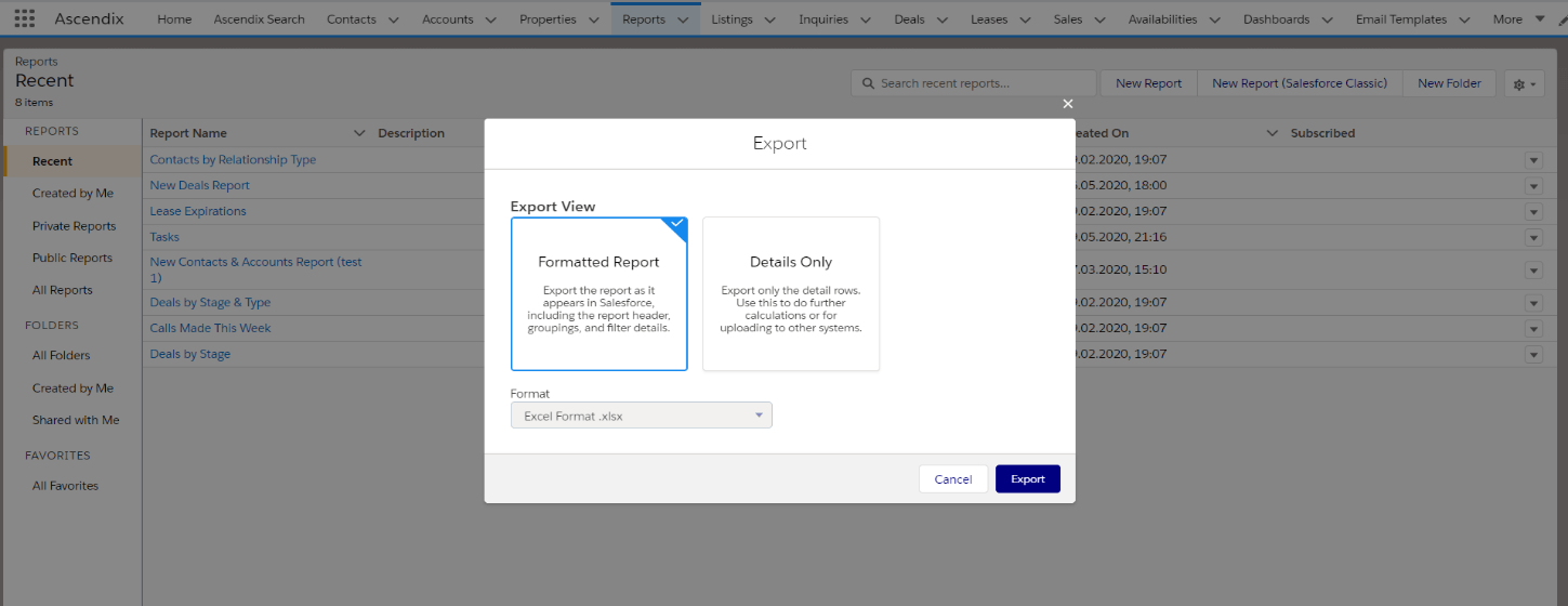 Choose an Export View on the Salesforce report