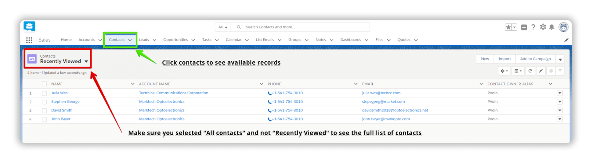 Click Contacts to See Your Available List of Contacts to Send Mass Email Salesforce