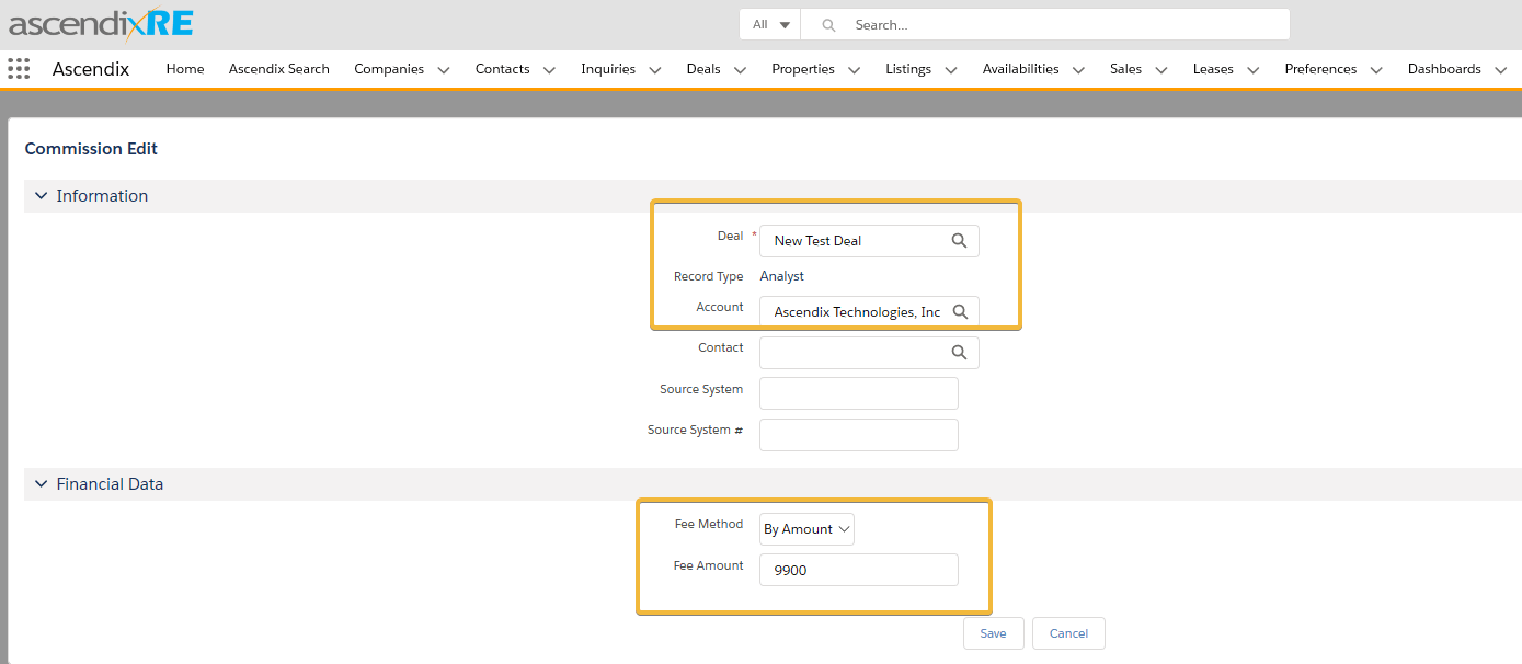 """Enter Fee Method """"By Amount"""" and Fee Amount"""
