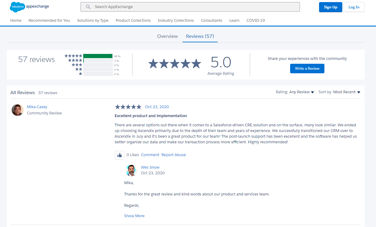 Example of Reviews on AppExchange