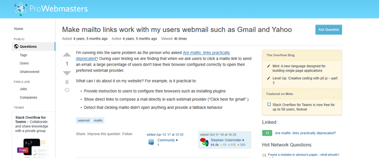 How to Link Mailto with Webmail Services like Gmail and Yahoo Question on ProWebmasters