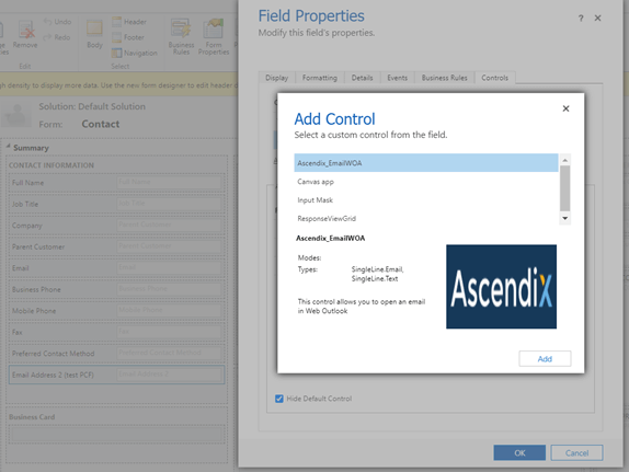 How to Put a Control on the Dynamics 365 Form