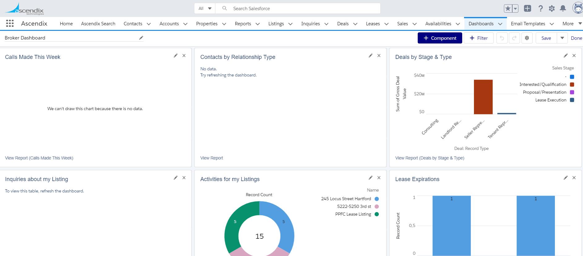 Open properties menu on the Salesforce report