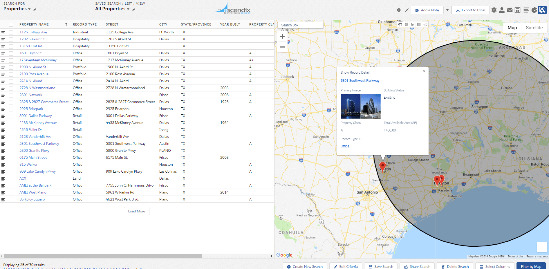 Property Search by Map with Ascendix Search