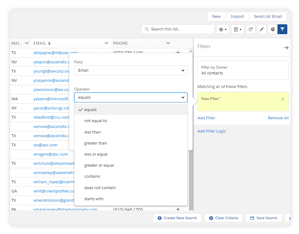 Salesforce Available Filters for the Field 'Email'