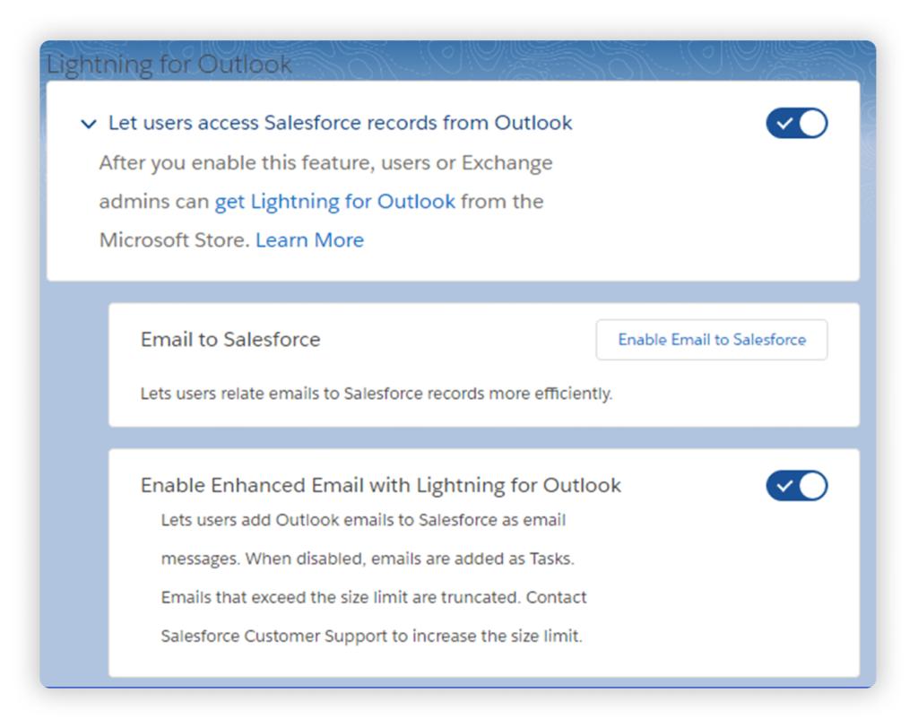 Salesforce Lightning for Outlook Settings