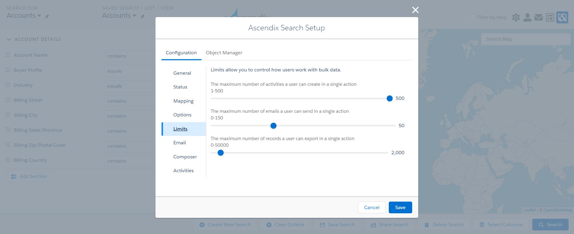 Salesforce data export limits in Ascendix Search