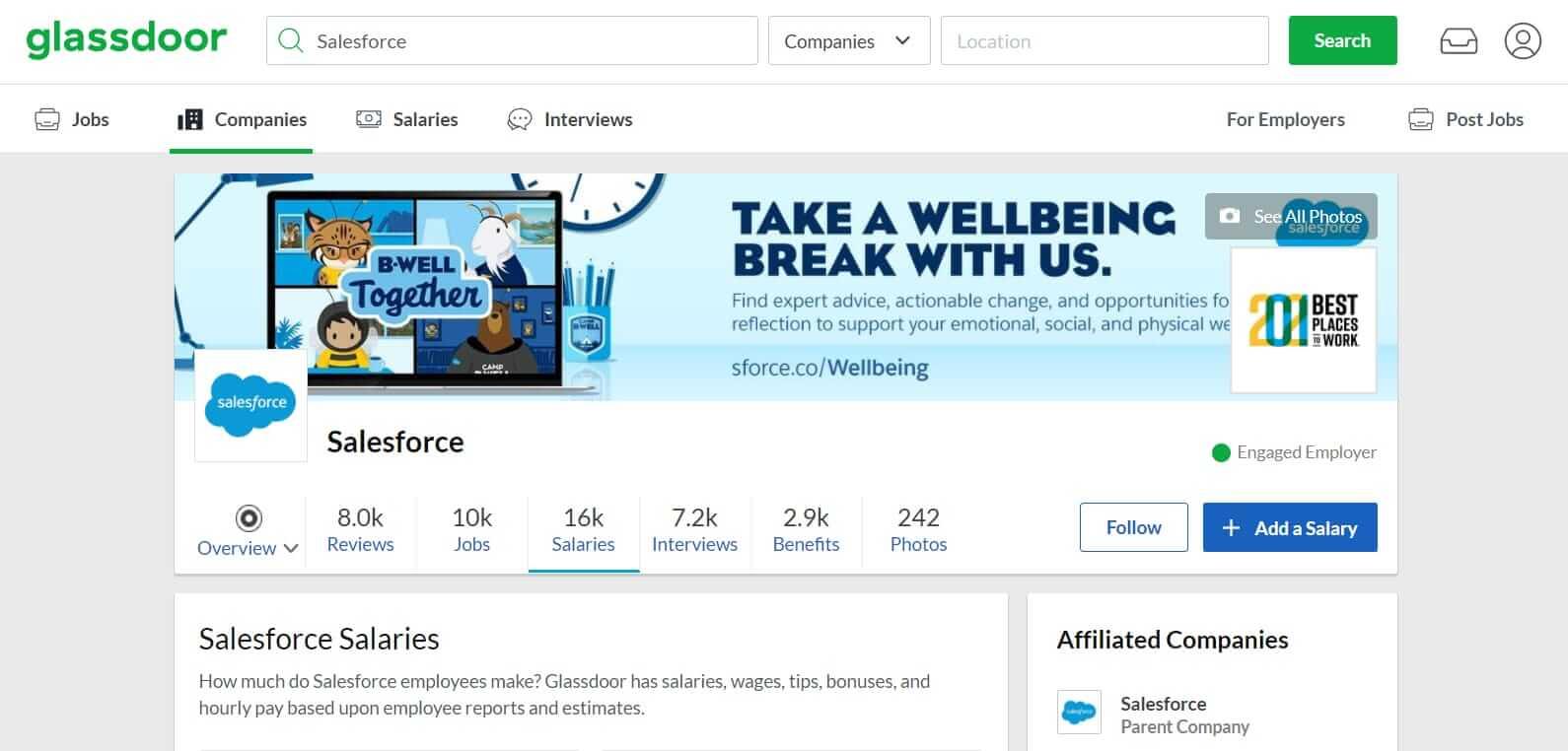 Salesforce profile on Glassdoor com