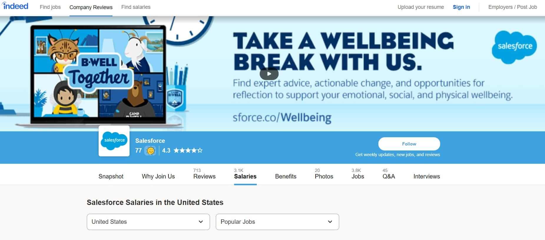 Salesforce profile on Indeed com