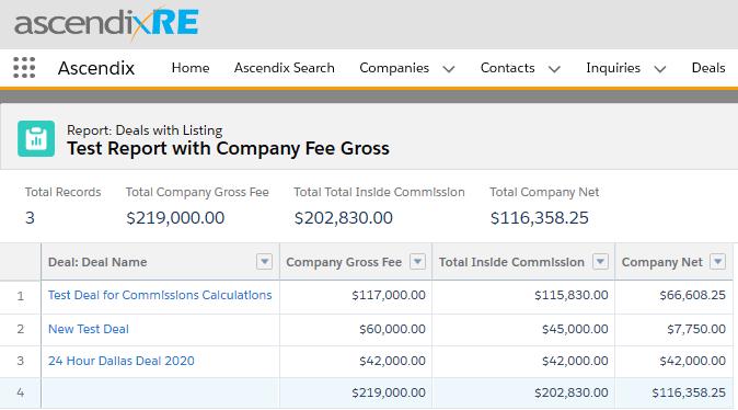 Sample of Company Fee Gross Report