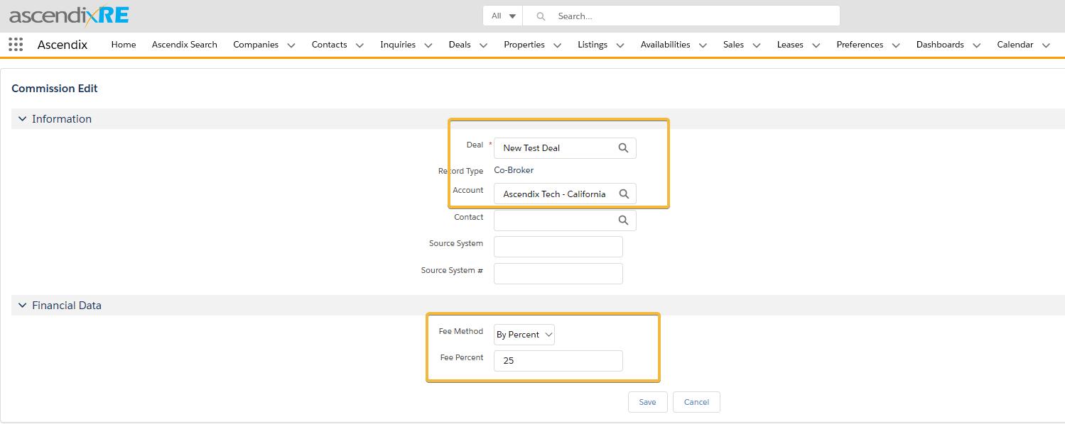 Select Fee Method and Fee Percent