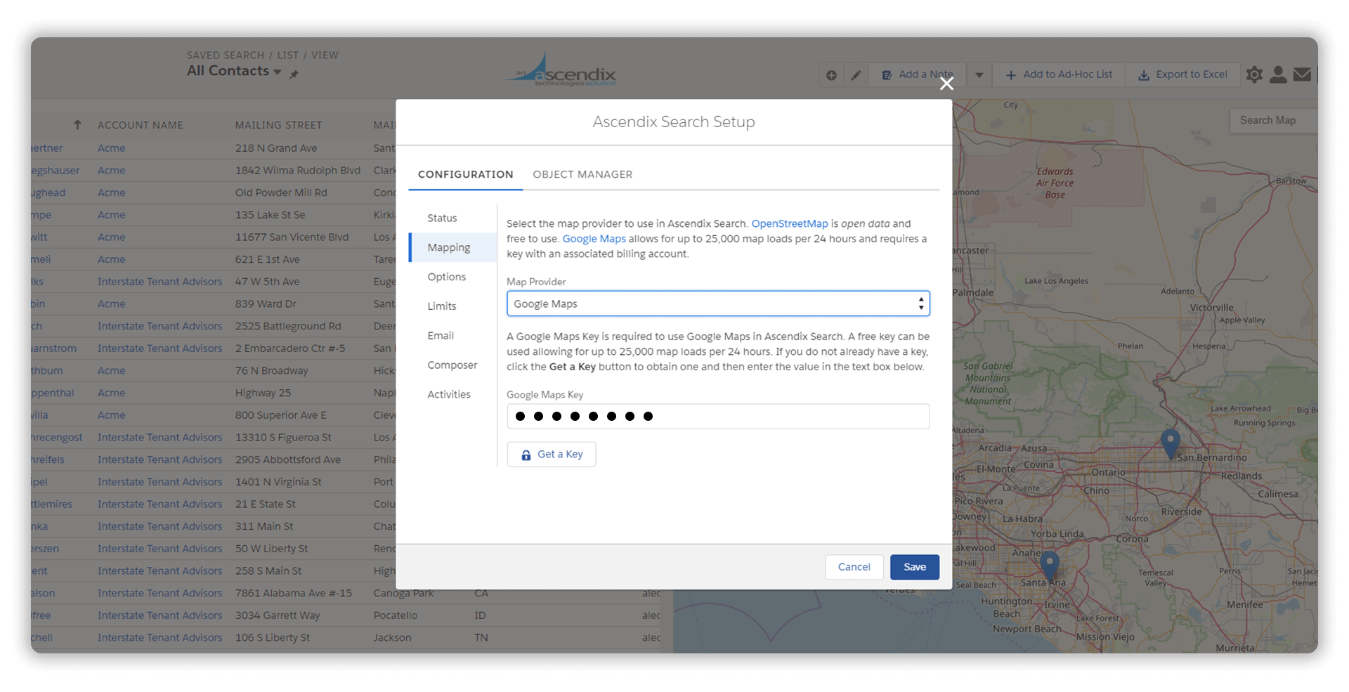 Selecting a Map Provider in Ascendix Search
