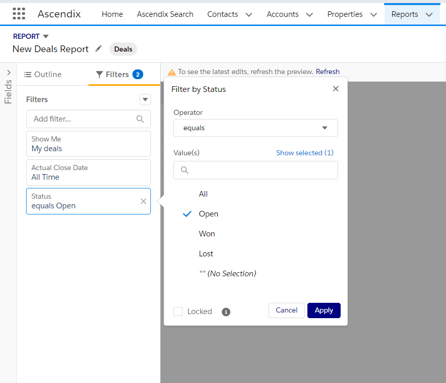 Use filters pane in Salesforce report