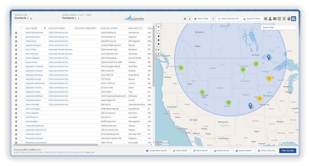 Using map search to look for records Ascendix Search for Salesforce