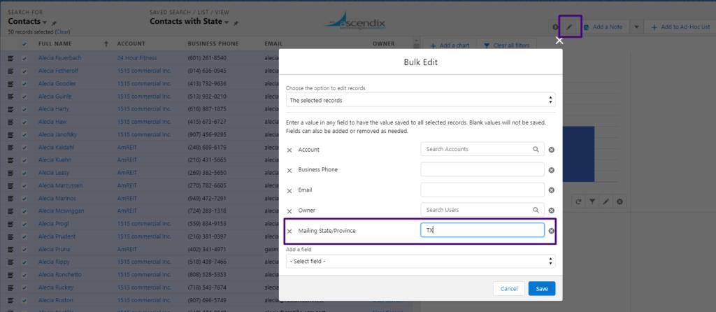Ascendix Search: Bulk Update of Incorrect Information