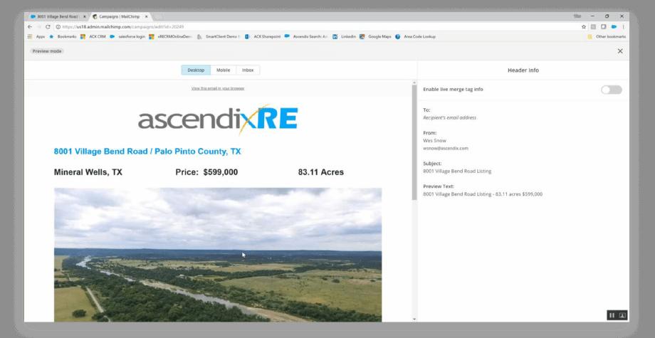 mailchimp integration with AscendixRE Land