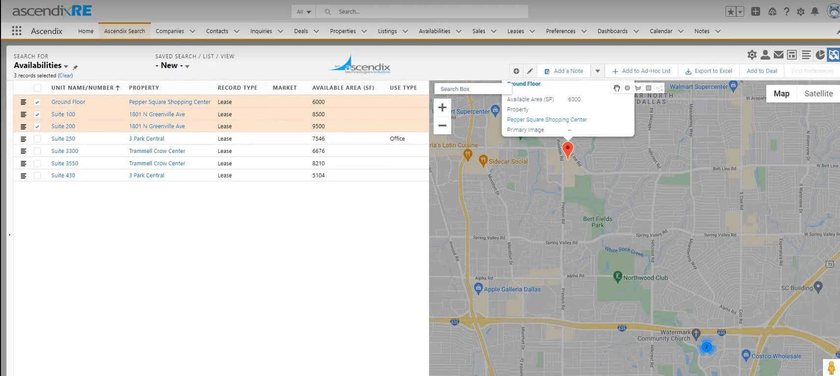 Ascendix Search property on the map