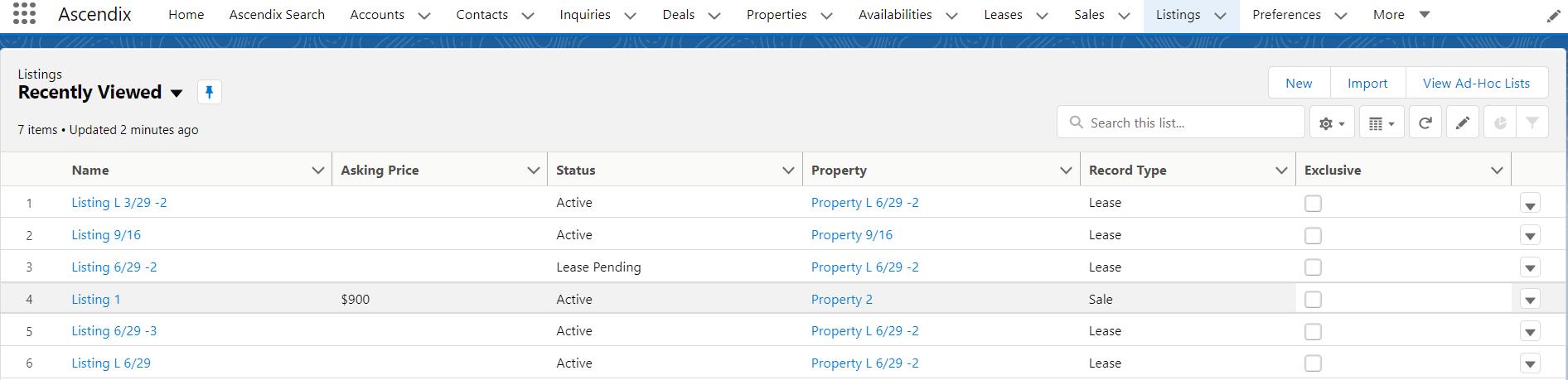 AscendixRE listings